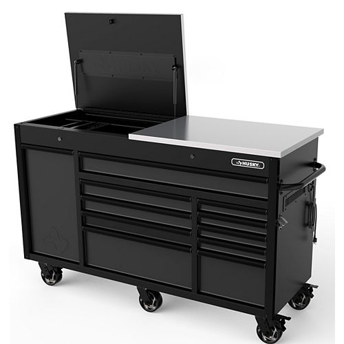Heavy-Duty 63-inch W x 23-inch D 11-Drawer Tool Storage Chest Mobile Workbench with Flip-Top Stainless Steel Top in Matte Black