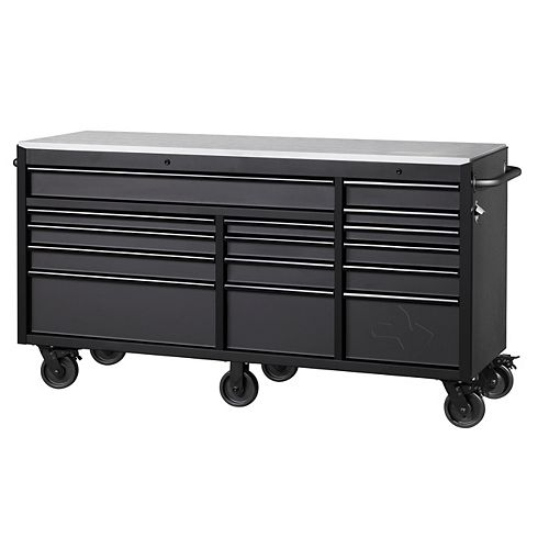Heavy-Duty 72-inch W x 24-inch D 15-Drawer Tool Storage Chest Mobile Workbench w/ Stainless Steel Top and Dual Locks, Matte Black