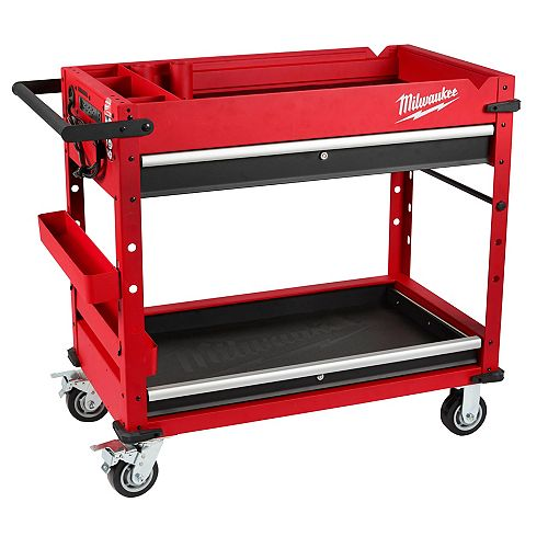 40-inch 2-Drawer Steel Work Cart with Parts Tray and Power Strip in Red