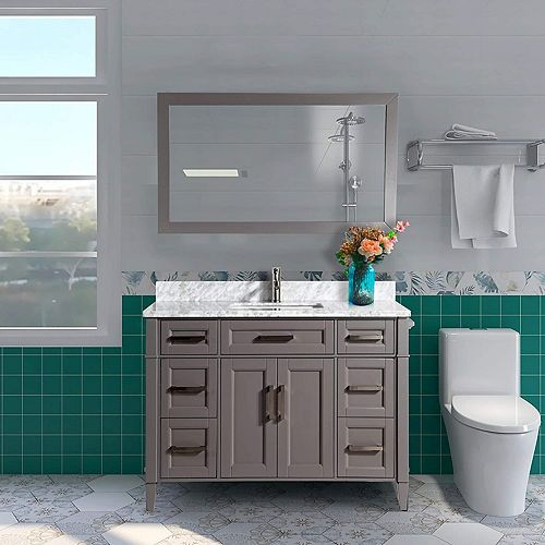 Savona 48 inch Vanity in Grey with Single Basin Vanity Top in White and Grey Marble and Mirror