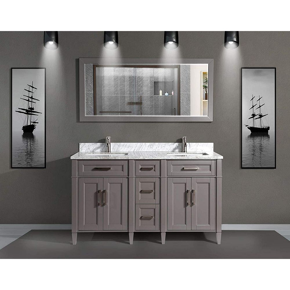 Savona 20 inch Vanity in Grey with Double Basin Vanity Top in White and  Grey Marble and Mirror