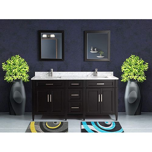 Savona 72 inch Vanity in Espresso with Double Basin Vanity Top in White and Grey Marble and Mirror