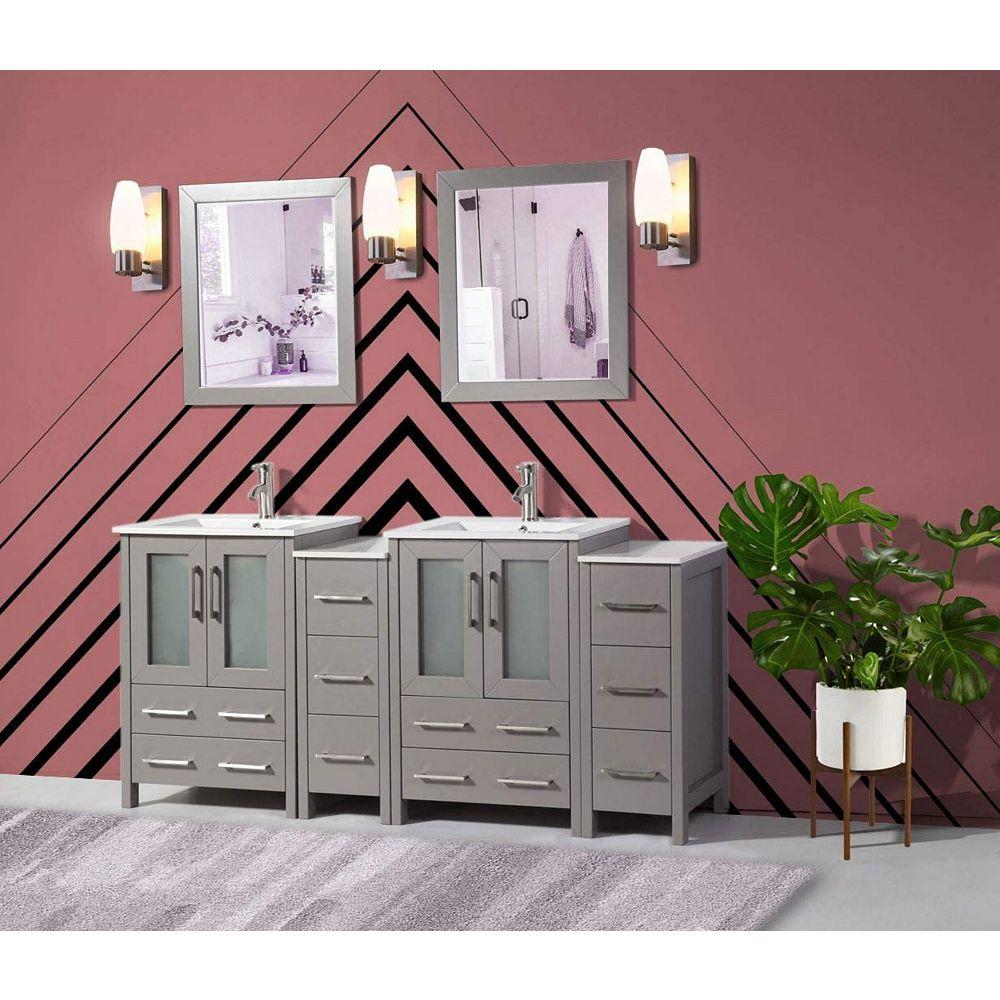 Vanity Art Brescia 72 inch Bathroom Vanity in Grey with ...