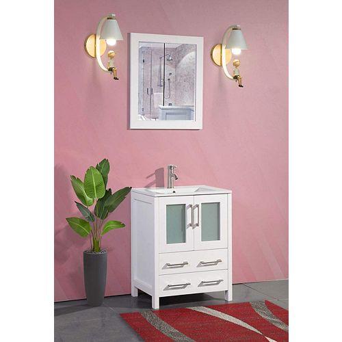 Brescia 24 inch Bathroom Vanity in White with Single Basin Vanity Top in White Ceramic and Mirror