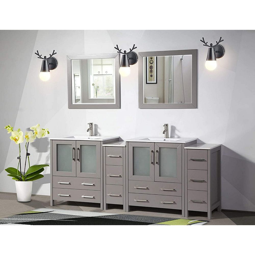 Vanity Art Brescia 84 Inch Bathroom Vanity In Grey With Double Basin Vanity Top In White C The Home Depot Canada
