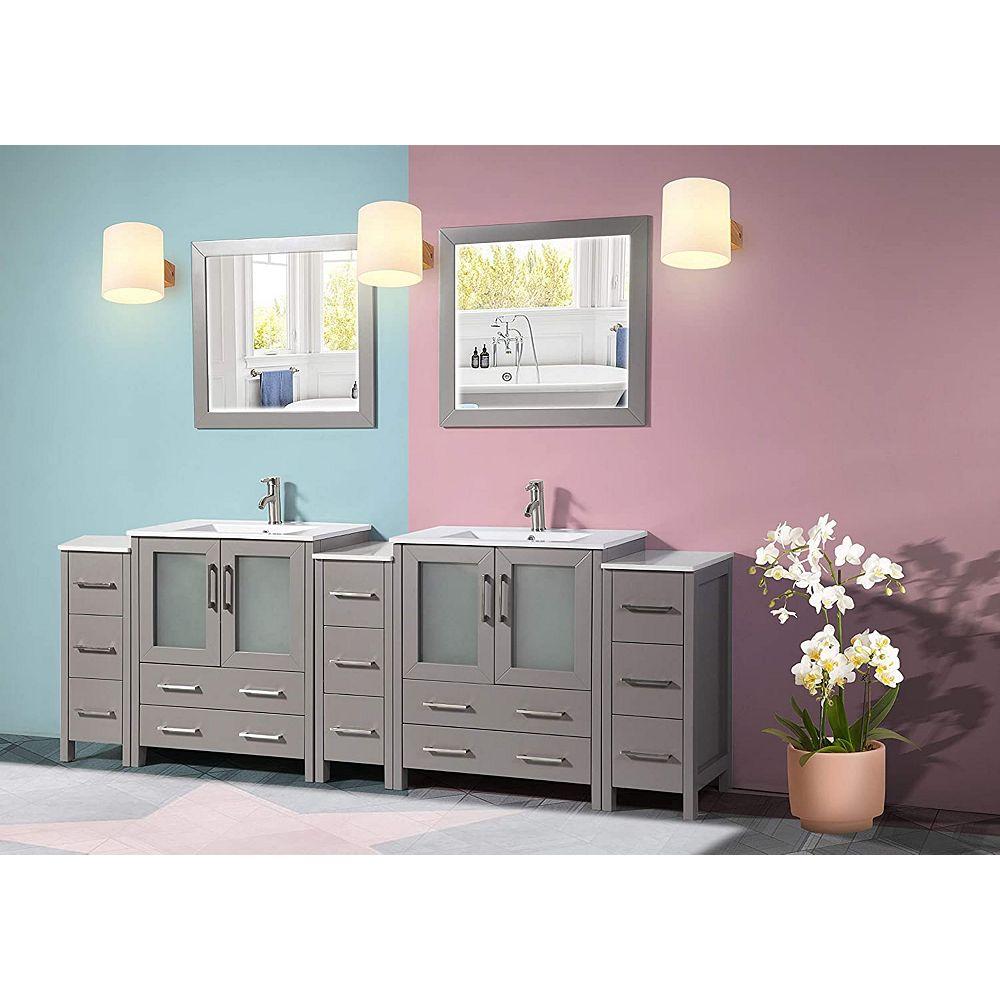Vanity Art Brescia 96 Inch Bathroom Vanity In Grey With Double Basin Top In White Ceramic The Home Depot Canada