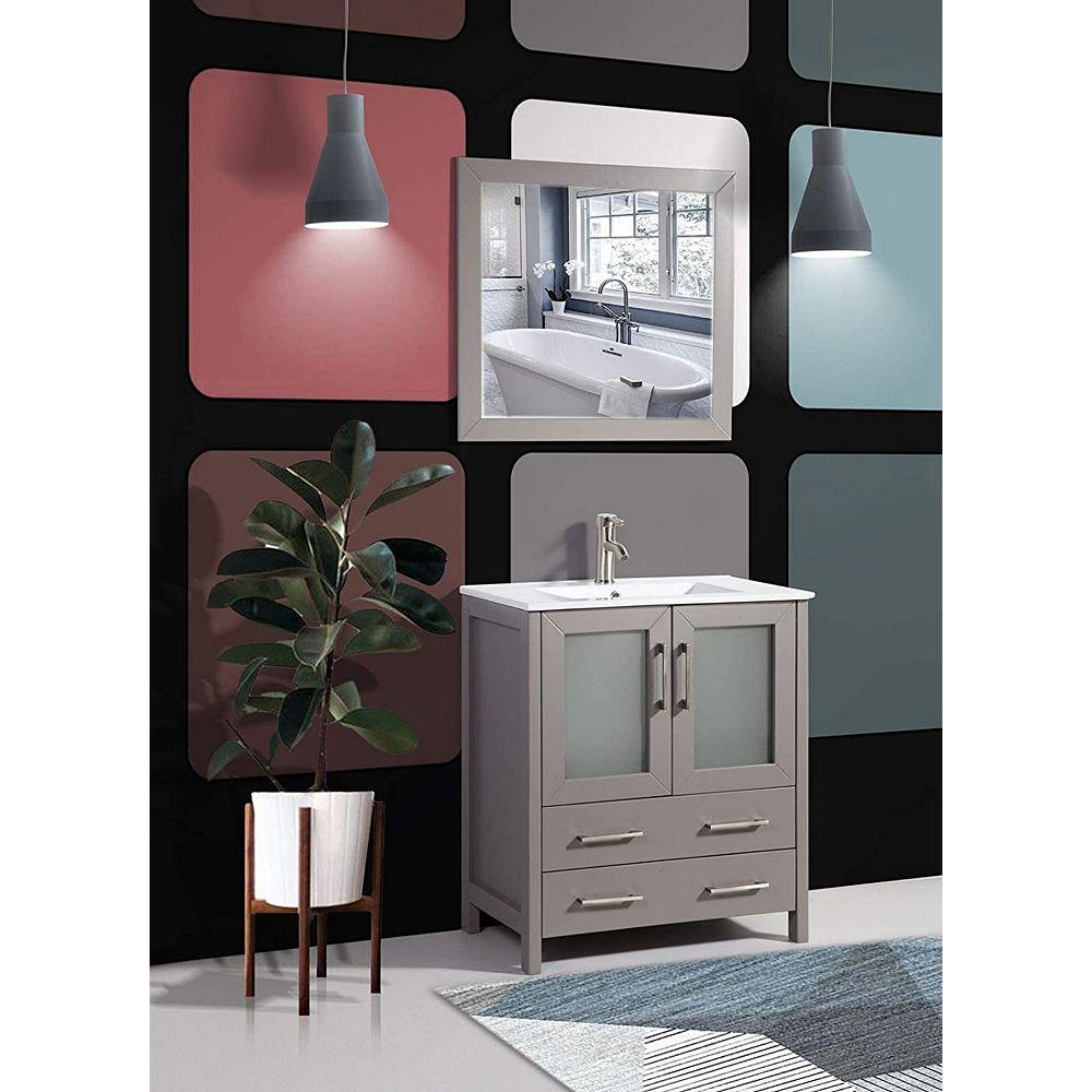 Vanity Art Brescia 30 Inch Bathroom Vanity In Grey With Single Basin Vanity Top In White C The Home Depot Canada
