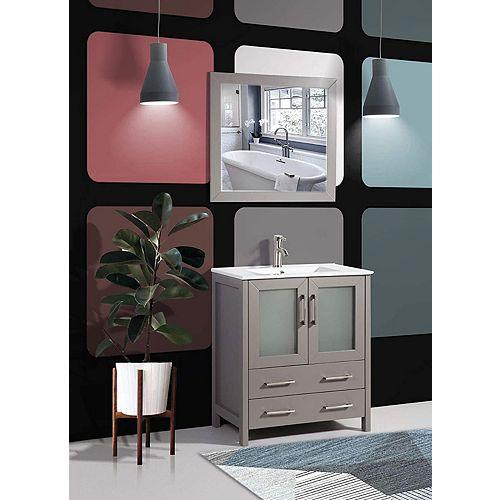 Brescia 30 inch Bathroom Vanity in Grey with Single Basin Vanity Top in White Ceramic and Mirror