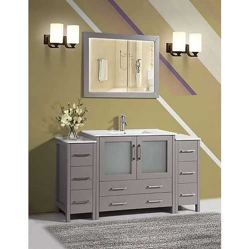 Brescia 60 inch Bathroom Vanity in Grey with Single Basin Vanity Top in White Ceramic and Mirror