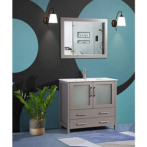 Brescia 36 inch Bathroom Vanity in Grey with Single Basin Vanity Top in White Ceramic and Mirror