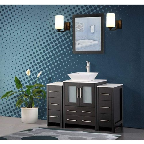 Ravenna 48 inch Bathroom Vanity in Espresso with Single Basin Top in White Ceramic and Mirror