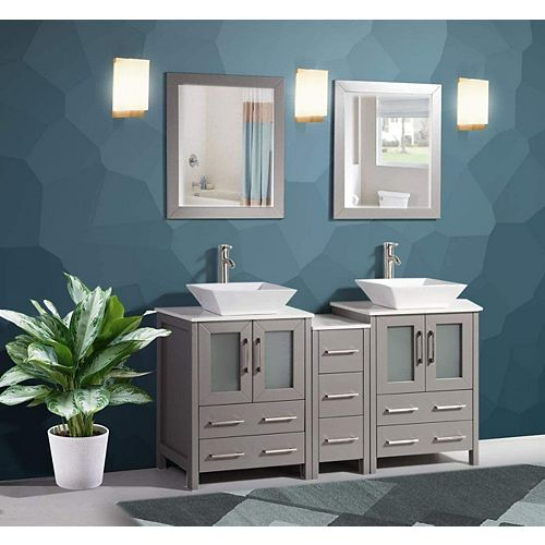 Ravenna 60 inch Bathroom Vanity in Grey with Double Basin Vanity Top in White Ceramic and Mirror