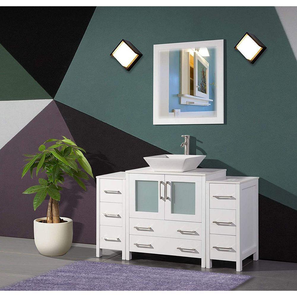 Vanity Art Ravenna 54 Inch Bathroom Vanity In White With Single Basin Vanity Top In White The Home Depot Canada