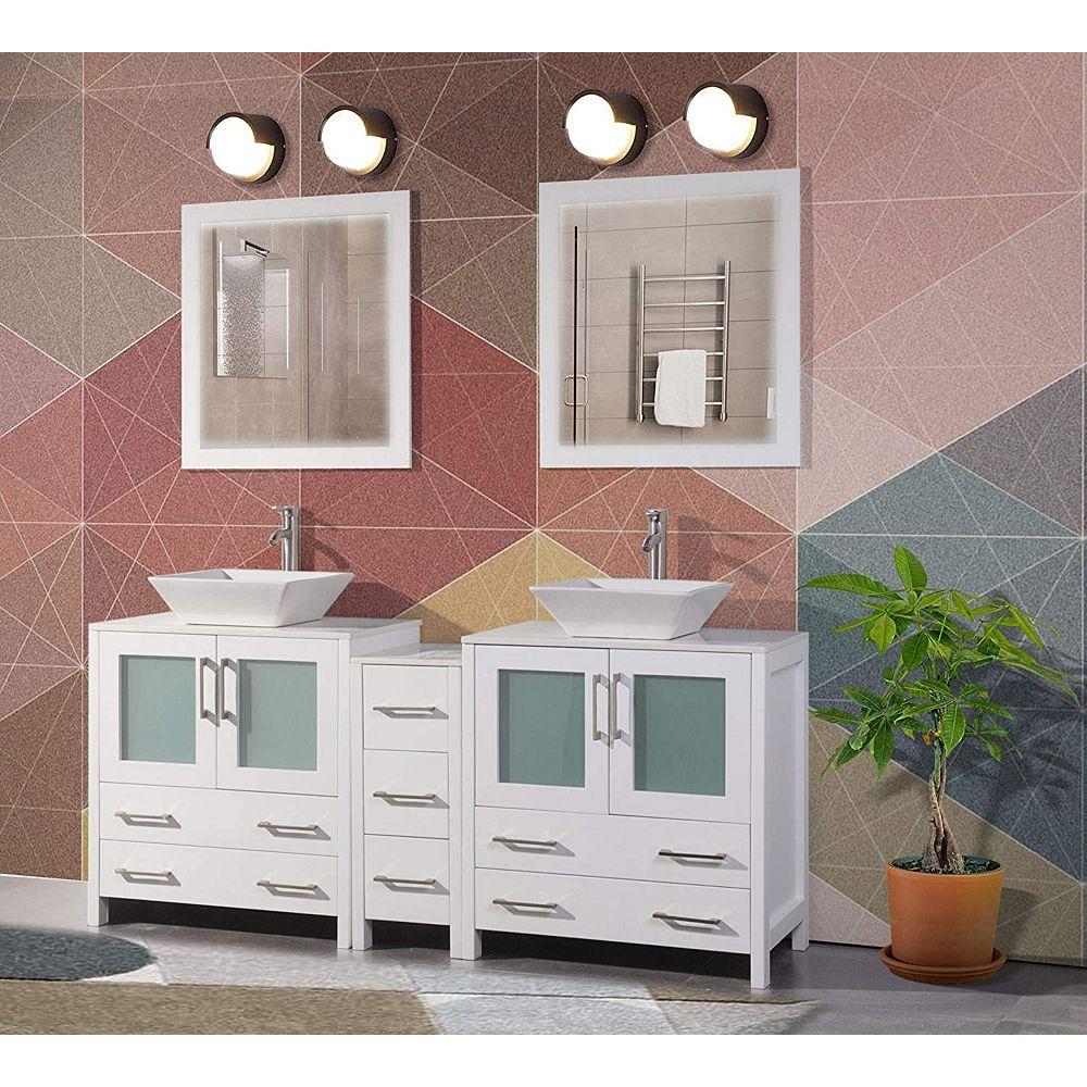 Vanity Art Ravenna 72 inch Bathroom Vanity in White with ...