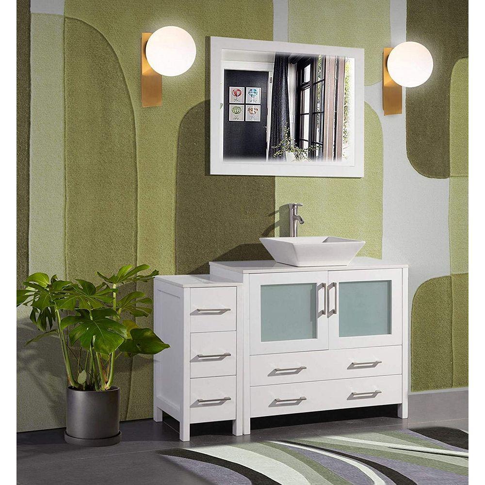 Vanity Art Ravenna 48 Inch Bathroom Vanity In White With Single Basin Vanity Top In White The Home Depot Canada