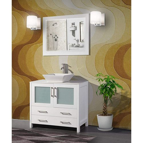 Ravenna 36 inch Bathroom Vanity in White with Single Basin Vanity Top in White Ceramic and Mirror