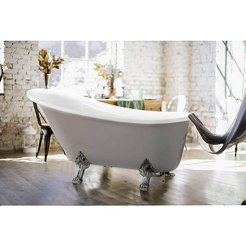 Freestanding claw foot acrylic bathtub with polished chrome pop-up drain. UPC Certified. 6310-L