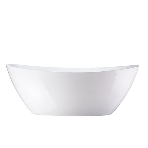 Freestanding acrylic bathtub with polished chrome round overflow and pop-up drain. 6807