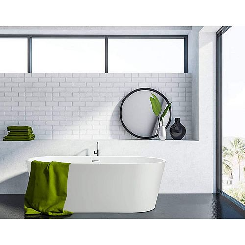 Freestanding acrylic bathtub with polished chrome slotted overflow and pop-up drain. 6815-L