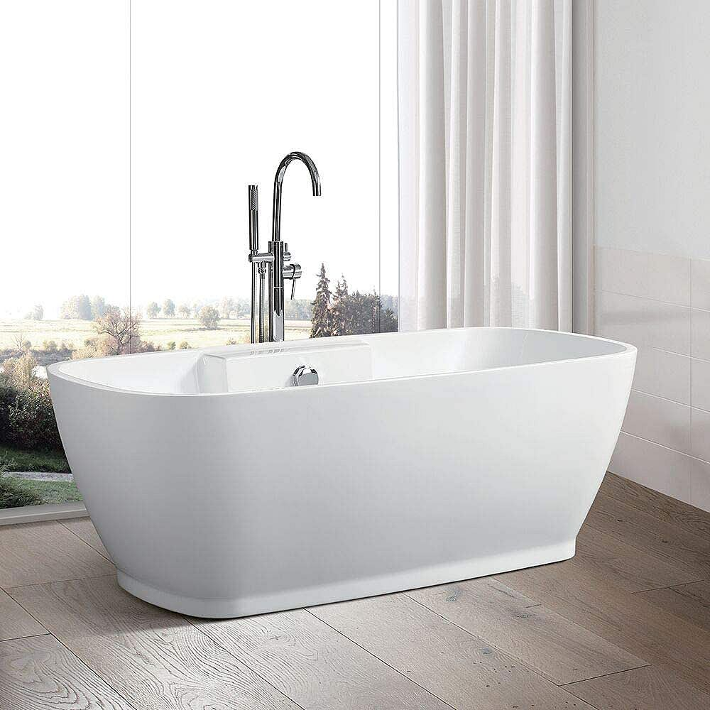 Vanity Art Freestanding acrylic bathtub with polished chrome round overflow and pop-up drain. 6835-L
