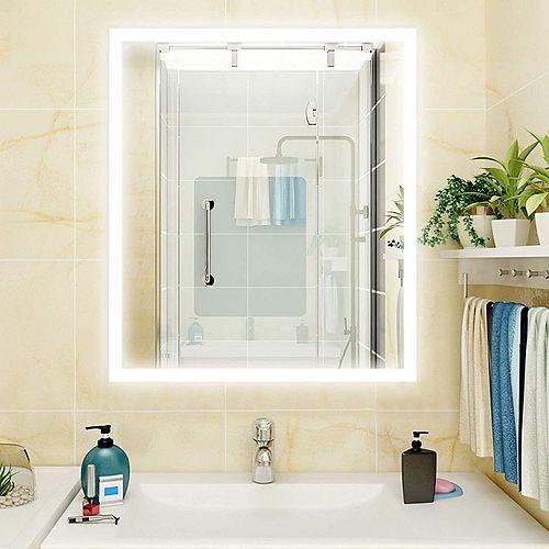 Miroir de salle de bains à DEL avec interrupteur tactile. DEL bleue et blanche de 5500K.0.7W, 144pcs