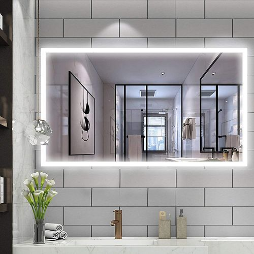 Miroir de salle de bains à DEL avec interrupteur tactile. DEL bleue et blanche, 5500K. 0.7W, 216pcs