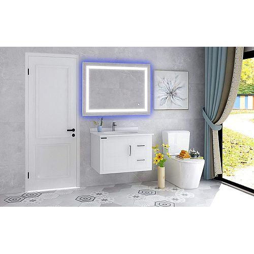 Miroir de salle de bains à DEL avec interrupteur tactile. DEL bleue et blanche, 5500K. 0.7W, 369pcs.