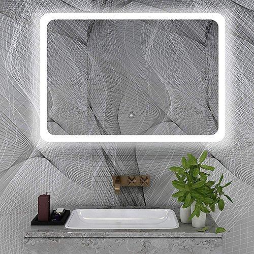 Miroir de salle de bains à DEL avec interrupteur tactile. DEL bleue et blanche, 5500K. 0.7W, 195pcs.