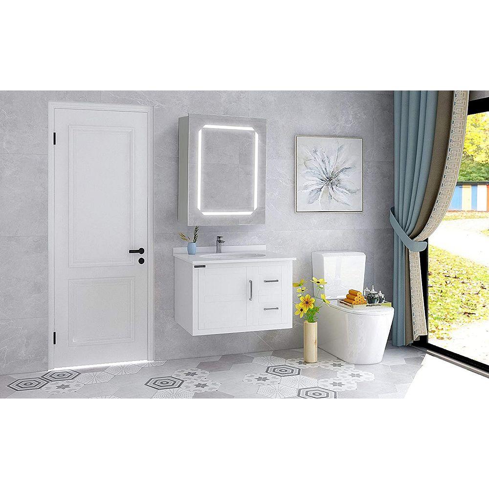 Vanity Art Armoire pharmacie et miroir de salle de bains à DEL avec interrupteur manuel. 5500K, 0.7W, 60pcs 31
