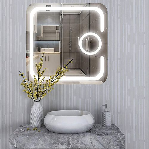 Miroir de salle de bains à DEL avec interrupteur à capteur tactile et miroir loupe 3X. DEL de  5500K. 7 lumens, 0.7W, 186pcs.