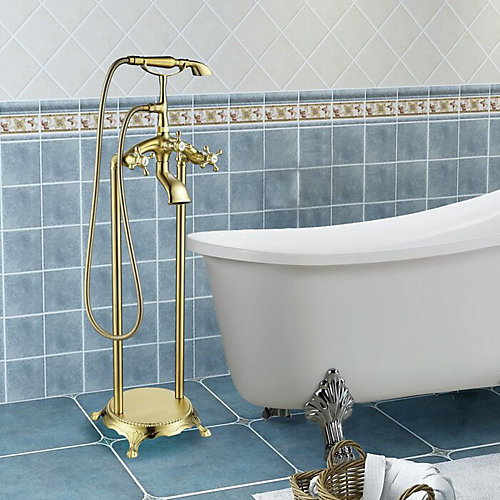 Freestanding faucet with shower head in brushed brass VA2019