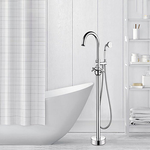 Freestanding faucet with shower head in polished chrome VA2029