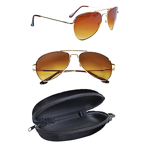 Polarized Gold Aviator Sunglasses with Hard Black Case (2-Pack)