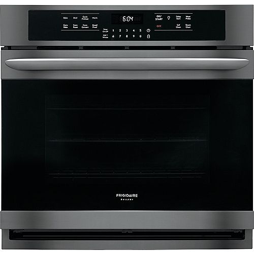 30-inch Single Electric Wall Oven Self-Cleaning with Convection in Black Stainless Steel