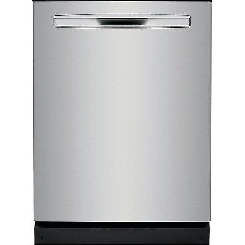 Lave-vaisselle encastré à cuve haute de 24 po avec double bras de pulvérisation OrbitClean en acier inoxydable anti-salissure