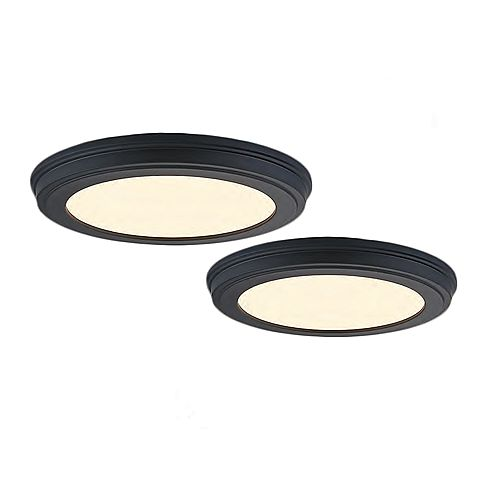 Commercial Electric 13-in. LED Colour Changing Matte Black Flushmount (2-Pack)