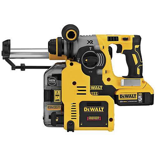 20V MAX XR 3 Mode SDS Rotary Hammer (5.0Ah) with 2 Batteries, Dust Extractor and Kit Box