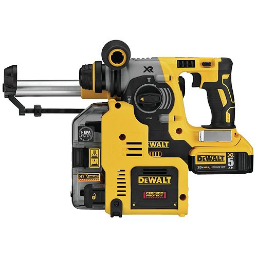 DEWALT 20V Max Lithium-Ion Cordless 1-inch Brushless SDS-Plus Rotary Hammer Kit with Extractor 2 Batteries 5.0Ah and Charger