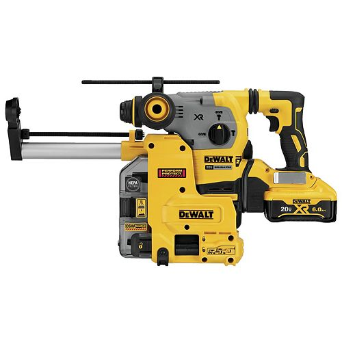 20V MAX XR 3 Mode SDS Rotary Hammer (6.0Ah) with 2 Batteries, Dust Extractor and Kit Box