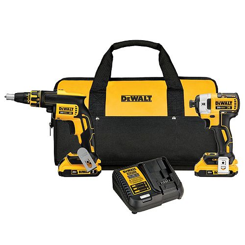 20V MAX XR Lithium-Ion Cordless Brushless Drywall Screwgun & Impact Driver Combo Kit (2-Tool) with (2) 2Ah Batteries, Charger and Bag