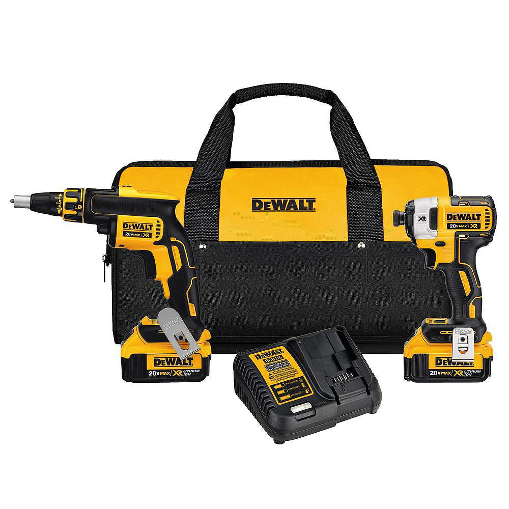 DEWALT 20V MAX XR Lithium-Ion Cordless Drywall Screwgun/Impact Driver Combo Kit (2-Tool) with (2) Batteries 4Ah and Charger