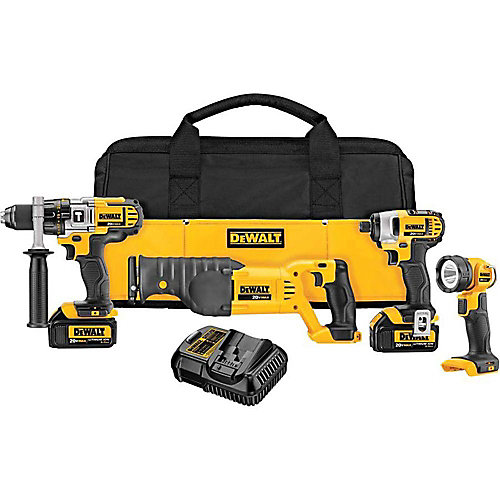 20V MAX Lithium-Ion Cordless Combo Kit (4-Tool) with (2) Batteries 3.0Ah, Charger and Tool Bag