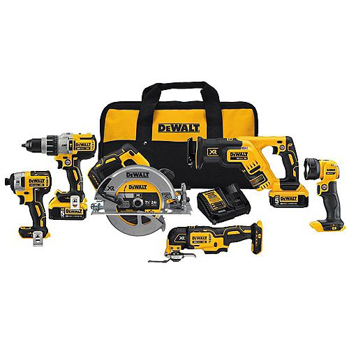 DEWALT 20V MAX XR Lithium-Ion Brushless Cordless Combo Kit (6-Tool) w/ Hammer Drill, (2) Batteries 5.0Ah, Charger and Bag