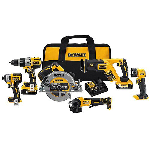 20V MAX XR 6 Tool  (DCD996, DCF887, DCS367, DCS570, DCG413, DCL040) with 2 Batteries (5.0Ah) and Bag