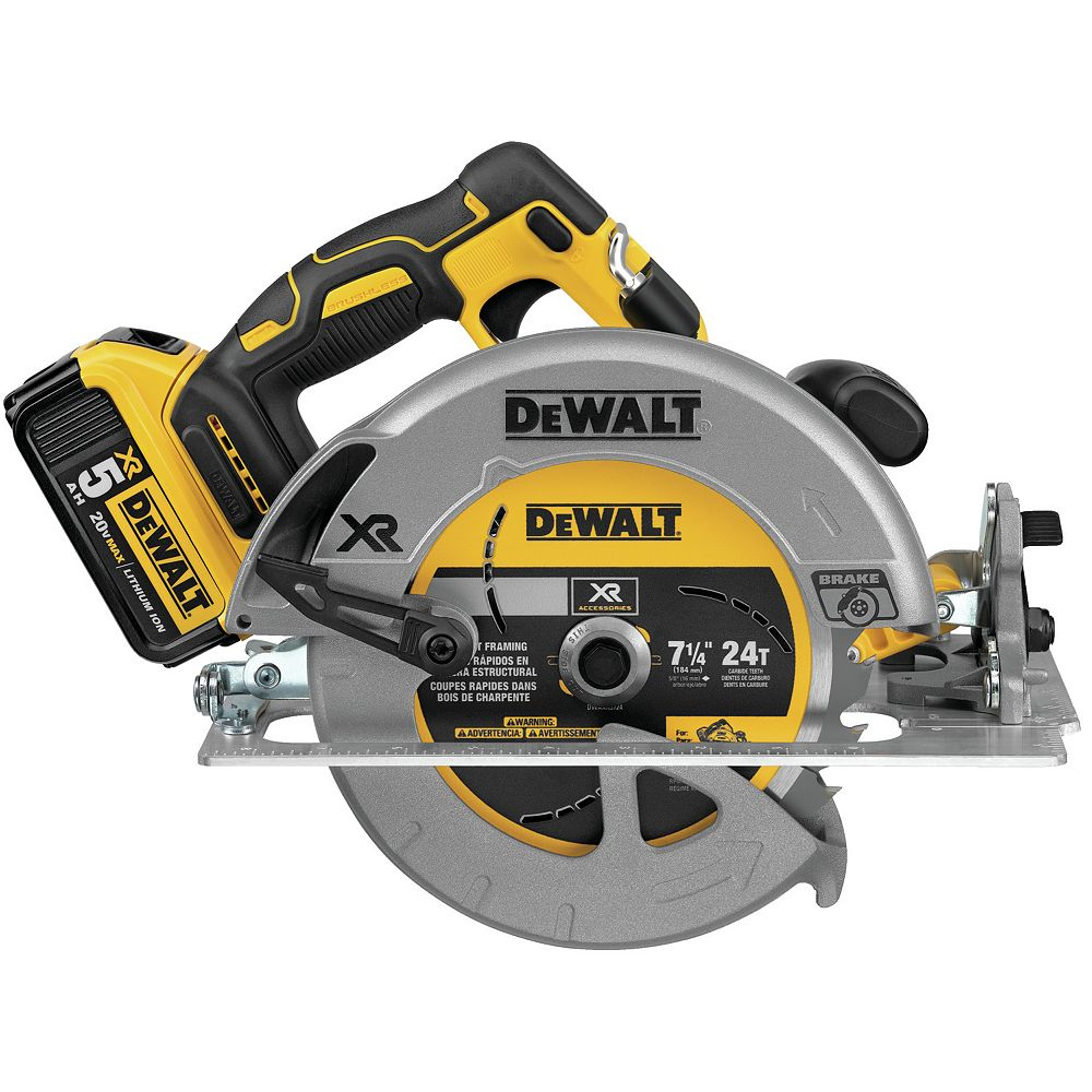 DEWALT 20V MAX Lithium-Ion Cordless 7-1/4-inch Circular Saw with Battery 5Ah, Charger and Contractor Bag