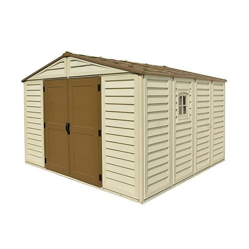 Woodbridge Plus 10.5 ft. W x 10.5 ft. D Fire Retardant Vinyl Plastic Resin Shed
