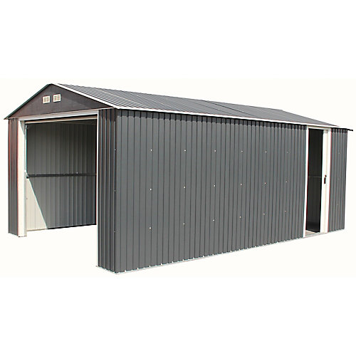 Imperial 12 ft. W x 20 ft. D Galvanized Steel Garage in Dark Grey