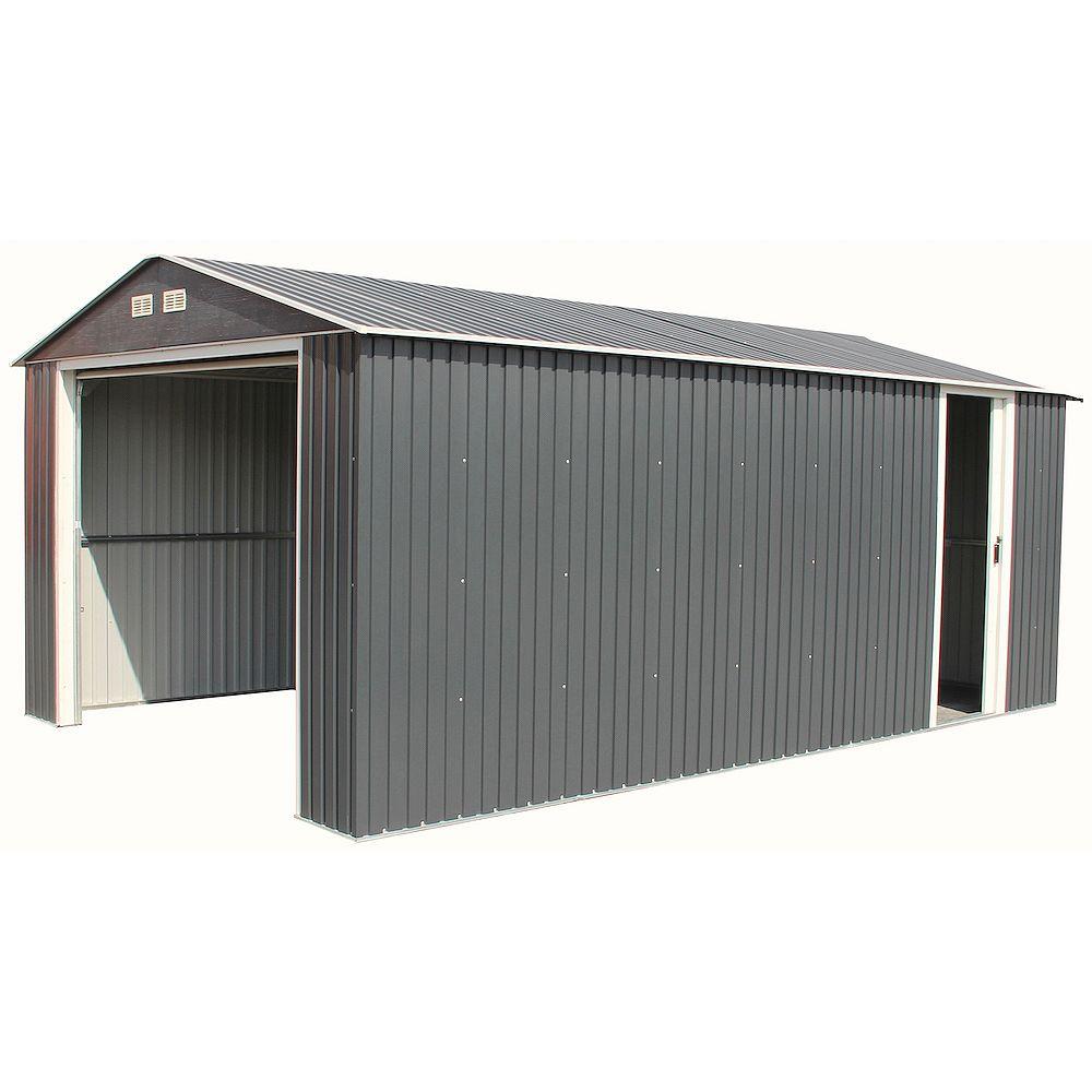 Duramax Imperial 12 ft. W x 20 ft. D Galvanized Steel Garage in Dark Grey