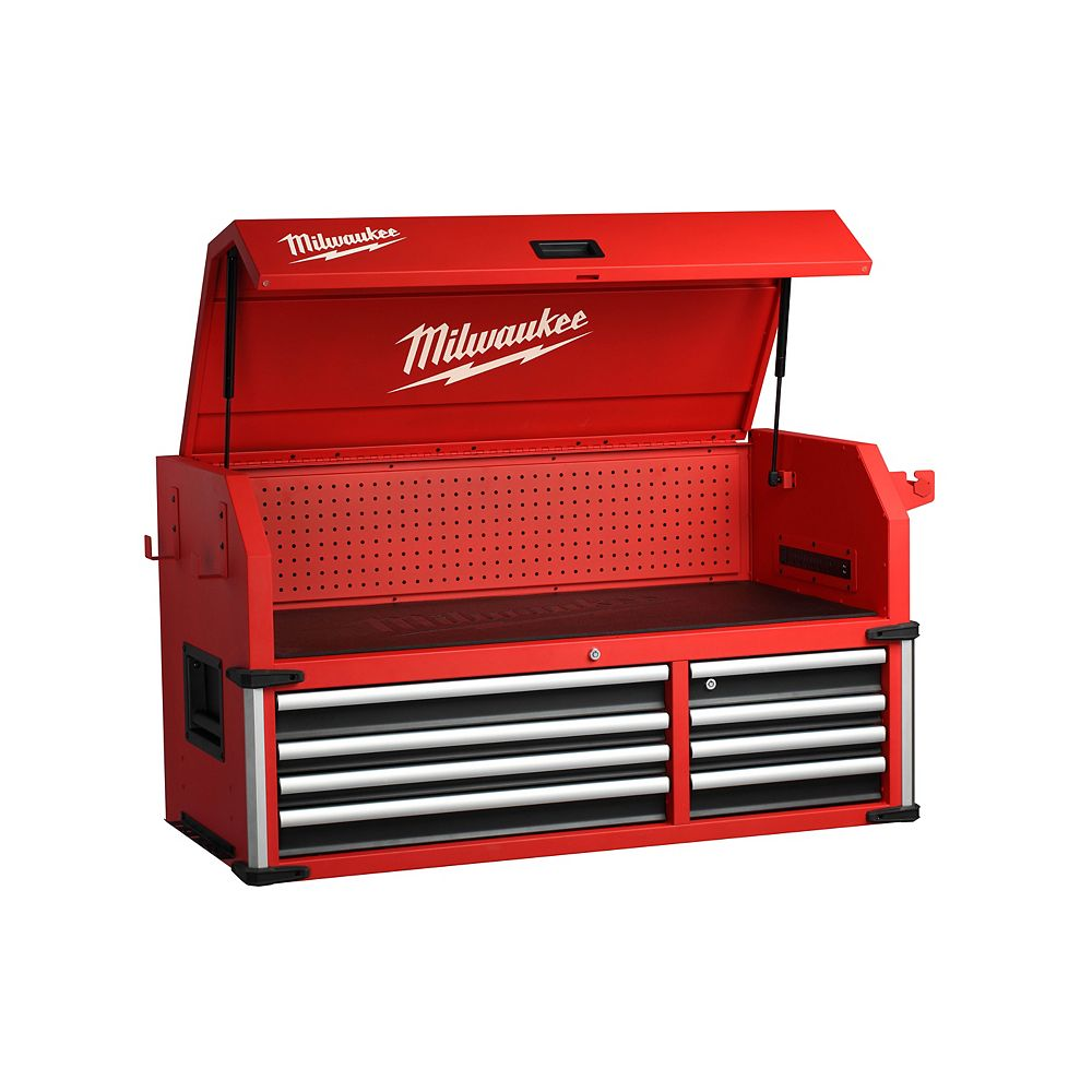 Milwaukee Tool 46-inch High Capacity Industrial 8-Drawer Steel Tool Storage Chest in Red