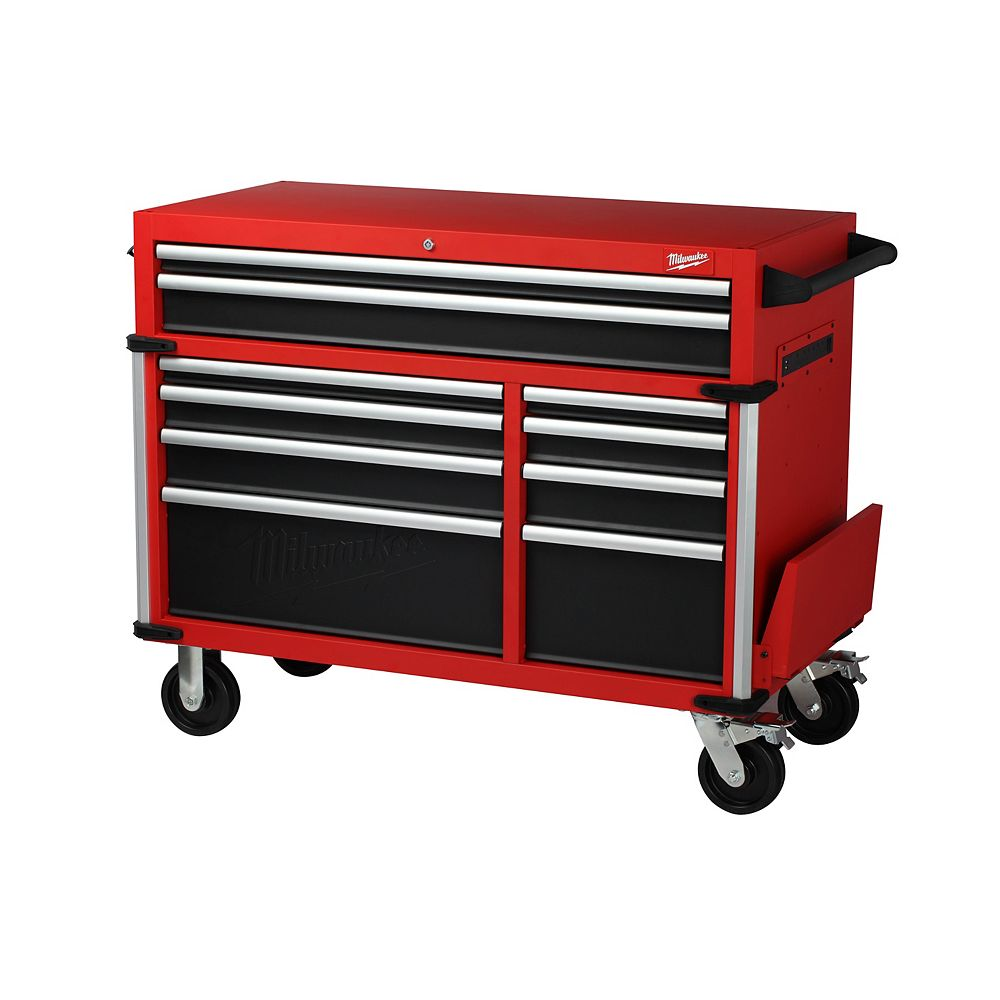 Milwaukee Tool 46-inch High Capacity Industrial 10-Drawer Steel Mobile Tool Storage Cabinet in Red and Black